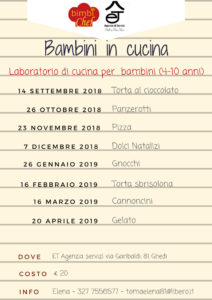 Laboratori di cucina  per bambini BimbiChef a Ghedi @ ET Agenzia servizi dott.ssa Toma Elena   Ghedi   Lombardia   Italia