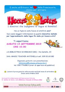 Hocus&Lotus: presentazione e lezioni di prova a Erbusco @ Biblioteca di Erbusco