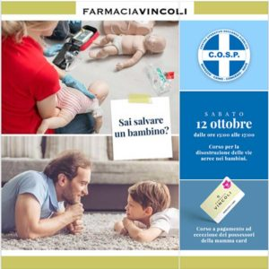 Manovre di disostruzione pediatriche @ Farmacia Vincoli