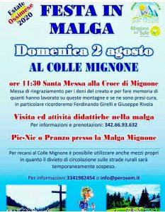 Festa in malga al colle Mignone @ colle Mignone