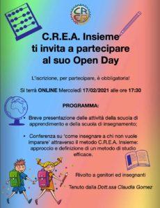 Open day C.R.E.A Insieme @ C.R.E.A. INSIEME - online