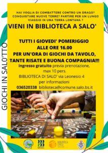 Giochi da tavolo alla biblioteca di Salò @ Biblioteca di Salò | Salò | Lombardia | Italia